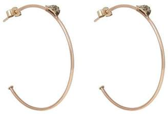 Annina Vogel Rose Gold Vintage Diamond Leaf Hoop Earrings