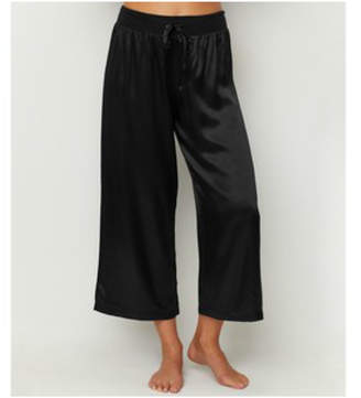PJ Harlow Pjharlow Satin Ankle Pant With Rib Waistband And Adjustable Drawstring