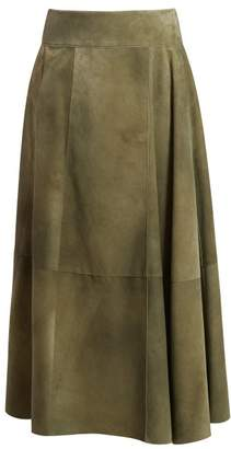 Bottega Veneta Panelled Suede Skirt - Womens - Green
