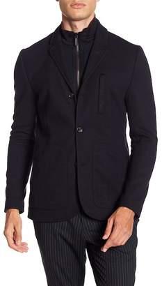 Ted Baker Nebrask Genuine Dyed Shearling Collar Suede Bomber Jacket