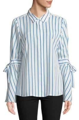 Striped Bell-Sleeve Button-Down Shirt