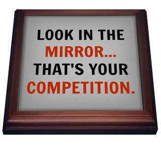 3dRose look in the mirror thats your competition, black and red letters, Trivet with Ceramic Tile, 8 by 8-inch