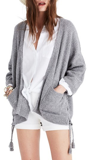 Women's Madewell Side Lace-Up Cardigan