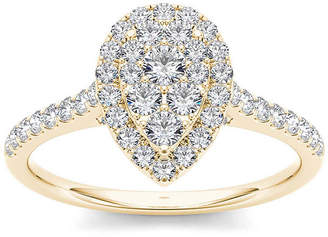 MODERN BRIDE 3/4 CT. T.W. Diamond 10K Yellow Gold Pear-Shaped Engagement Ring