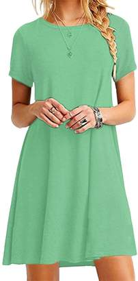 OMZIN Women Round Neck Daily Comfy Solid Color Tops Tunic Dress S