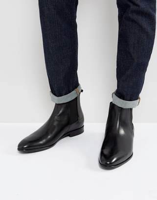 HUGO Dressapp Burnished Calf Leather Chelsea Boot In Black