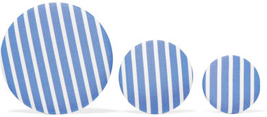 Balenciaga  Balenciaga - Set Of Three Striped Poplin And Silver-tone Earrings - Blue
