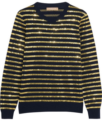 Michael Kors Collection - Striped Sequined Cashmere Sweater - Gold $1,395 thestylecure.com