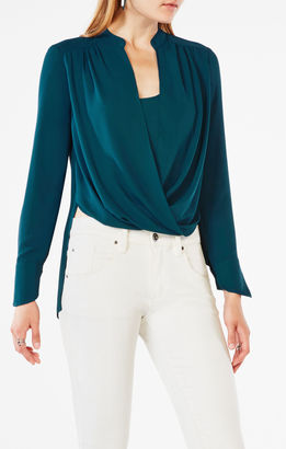 Jaklyn Draped-Front Blouse $158 thestylecure.com