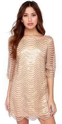 Kalin L Women Sequins Glitter Metallic Stripe Hollow out Crochet Flapper Dress