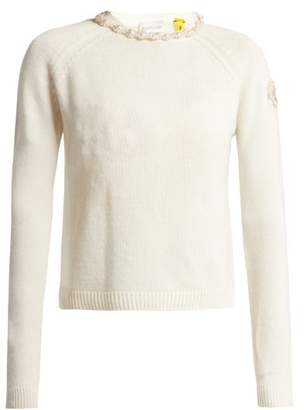 Simone Rocha 4 Moncler Faux Pearl Embellished Cashmere Sweater - Womens - Ivory