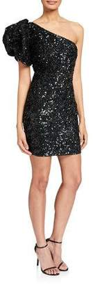 Jovani Sequin Puff One-Shoulder Short Cocktail Dress