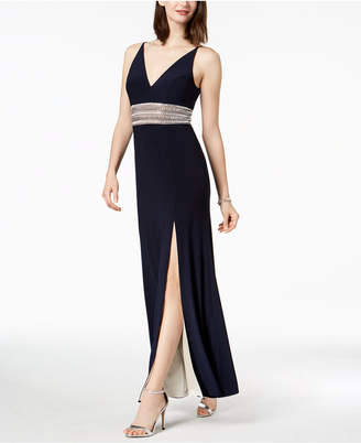 Xscape Evenings Beaded Plunge Gown