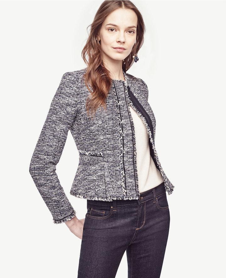 Ann TaylorFringe Tweed Jacket