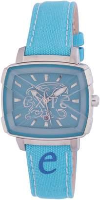 Exte Women's EX.4008L/11 Square Dial Genuine Leather Wristwatch