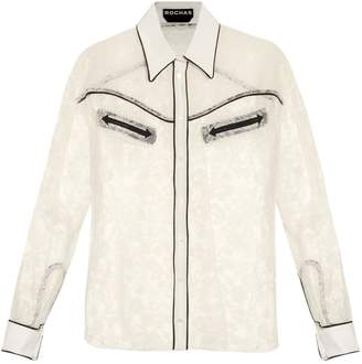 Rochas Contrast-trimmed lace shirt