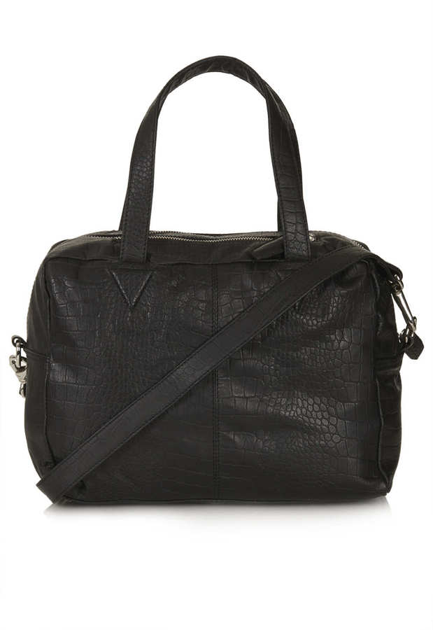 Topshop Embossed Croc Boxy Leather Holdall Bag