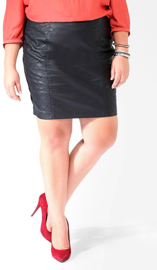 Forever 21 Quilted Panel Faux Leather Skirt