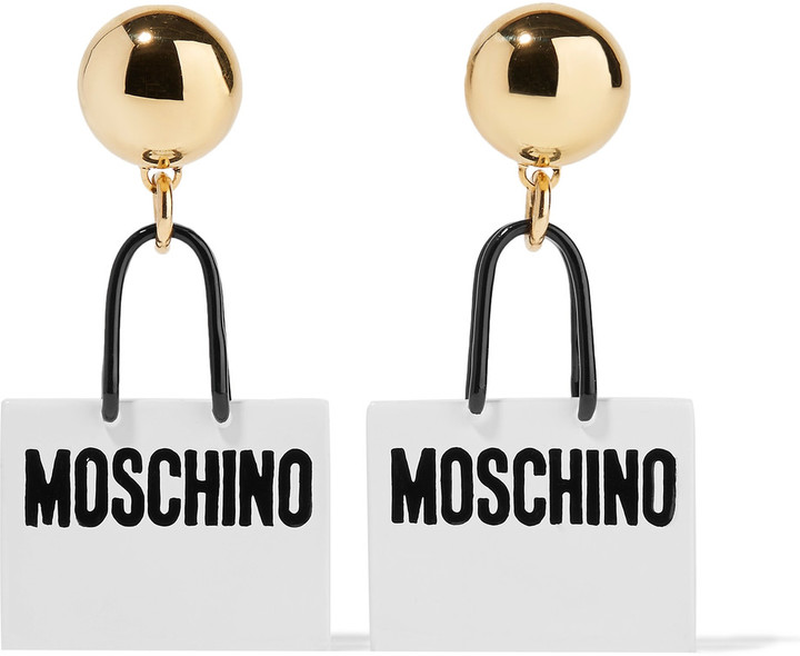 Moschino Moschino Gold-tone enamel earrings