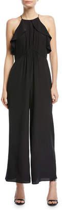 Zimmermann Sleeveless Ruffled-Frill Wide-Leg Silk Jumpsuit