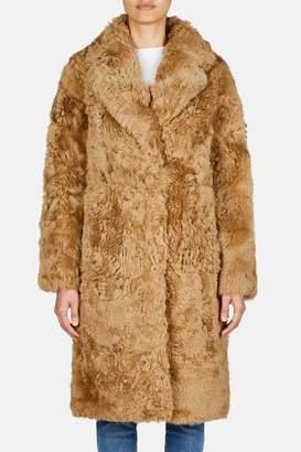 Pologeorgis Teddy Collared Cocoon Coat - Camel
