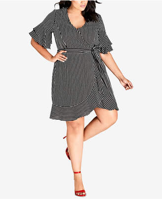 City Chic Trendy Plus Size Chenelle Striped Ruffled Wrap Dress