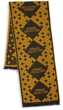 Versace Tile Check Wool Blend Scarf