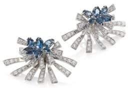 Hueb Mirage Diamond& London Blue Topaz Stud& Ear Jacket Set