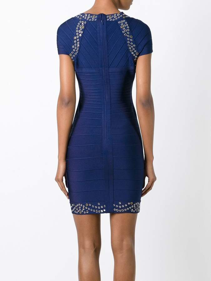 Herve Leger studded fitted dress