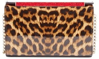 Christian Louboutin Christian Louboutin 'Vanite' Leopard Print Leather Clutch - Brown