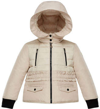 Moncler Adonise Two-Tone Ruffle-Trim Hooded Jacket, Size 4-6