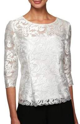 Alex Evenings Embroidered Three-Quarter Sleeve Blouse