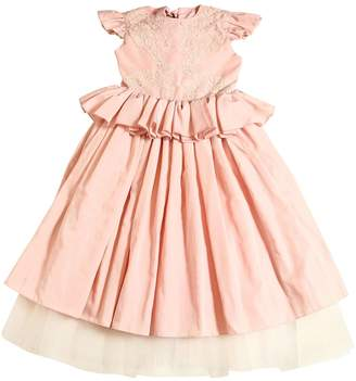 Taffeta & Macramé Lace Long Party Dress