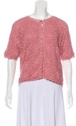 Halston Knit Short Sleeve Cardigan