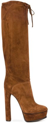 Casadei wide leg knee high boots $831.56 thestylecure.com