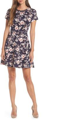Vince Camuto Floral Print Scuba Crepe Fit & Flare Dress