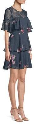 BCBGMAXAZRIA Blooming Floral Ruffle Mini Dress