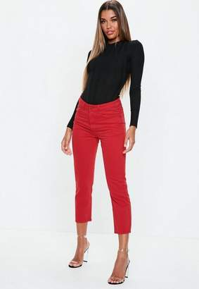 Missguided Red Denim Cropped Kick Flare Jeans