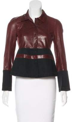 Rozae Nichols Contrast Leather Top
