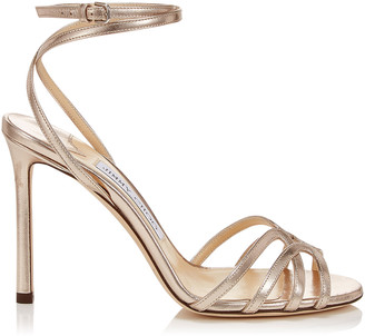 Jimmy Choo MIMI 100 Platinum Metallic Nappa Leather Wrap Around Sandals