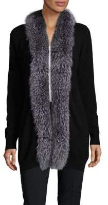 Saks Fifth Avenue Natural Fox Fur Trimmed Cashmere Sweater