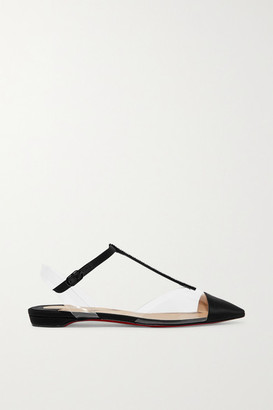 Christian Louboutin Nosy Crystal-embellished Satin And Pvc Point-toe Flats - Black
