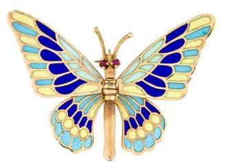18K Plique a Jour Articulated Butterfly Brooch