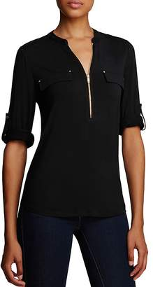 Calvin Klein Zip Front Roll Sleeve Knit Blouse