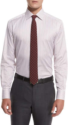 Ermenegildo Zegna Striped Trofeo Dress Shirt, Red
