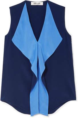 Diane von Furstenberg Isabel Two-tone Silk-crepe Top - Navy