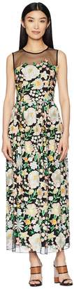 ML Monique Lhuillier Floral Embroidery Cocktail Dress with Mesh Yoke Women's Dress