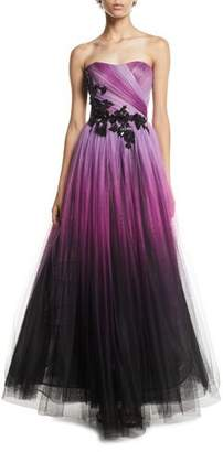 Pamella Roland Floral-Beaded Strapless Ombre-Tulle Gown