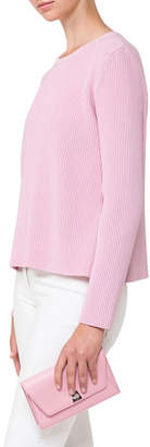 Akris Crewneck Ribbed Long-Sleeve Wool-Blend Pullover Top