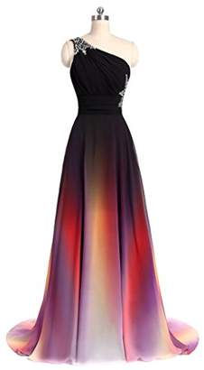 Angela One Shoulder Ombre Long Chiffon Evening Prom Dresses